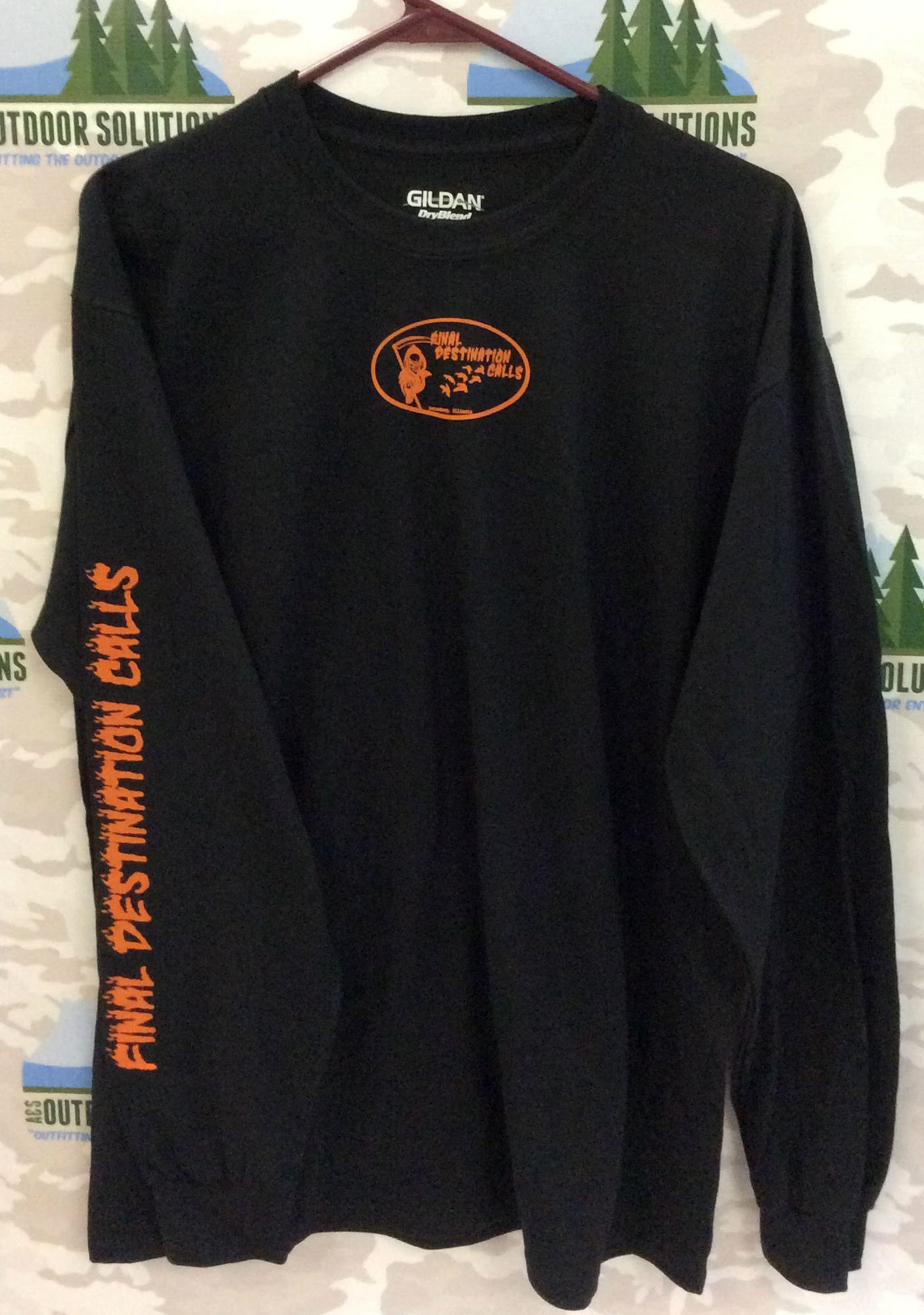 Black Long Sleeve Tee with Orange Logo from Final Destination Calls