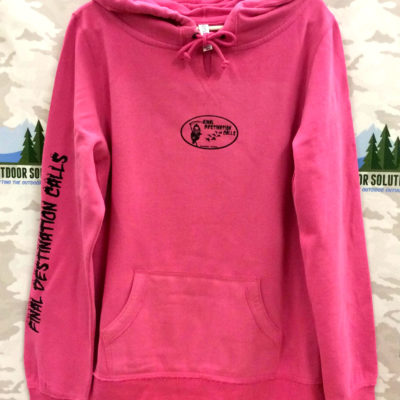 Ladies Hot Pink V Notch Hooded Sweatshirt with Black Logo from Final Destination Calls