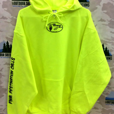 Safety Green Hooded Sweatshirt with Black Logo from Final Destination Calls