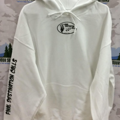 White Hooded Sweatshirt with Black Logo from Final Destination Calls