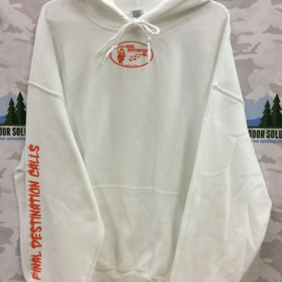 White Hooded Sweatshirt with Orange Logo from Final Destination Calls