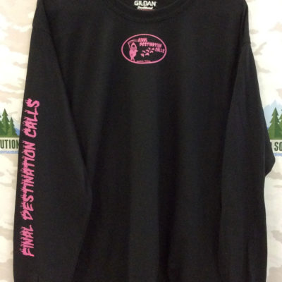 Black Long Sleeve Tee with Hot Pink Logo from Final Destination Calls