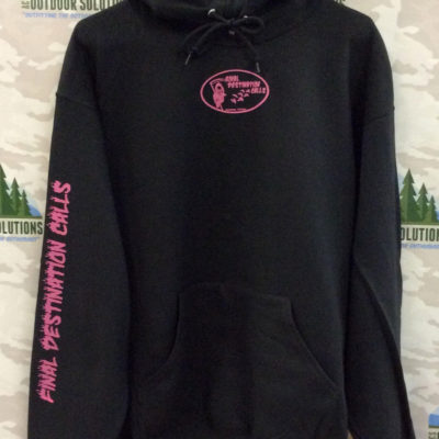 Black Hooded Sweatshirt with Hot Pink Logo from Final Destination Calls