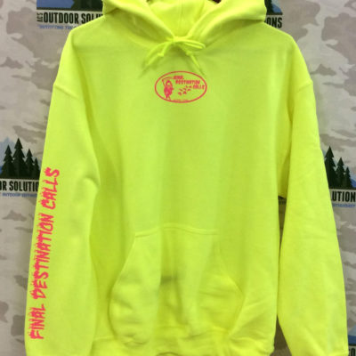 Safety Green Hooded Sweatshirt with Hot Pink Logo from Final Destination Calls