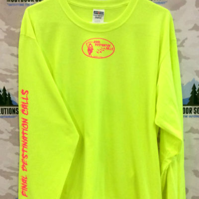 Safety Green Long Sleeve Tee with Hot Pink Logo from Final Destination Calls