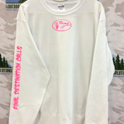 White Long Sleeve Tee with Hot Pink Logo from Final Destination Calls
