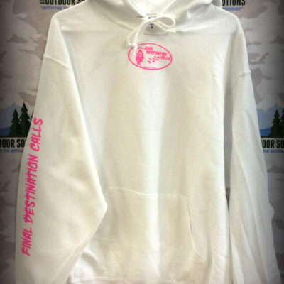 White Hooded Sweatshirt with Hot Pink Logo from Final Destination Calls