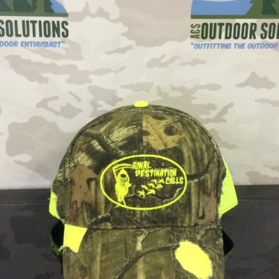 Camo with Safety Green patches and Logo from Final Destination Calls