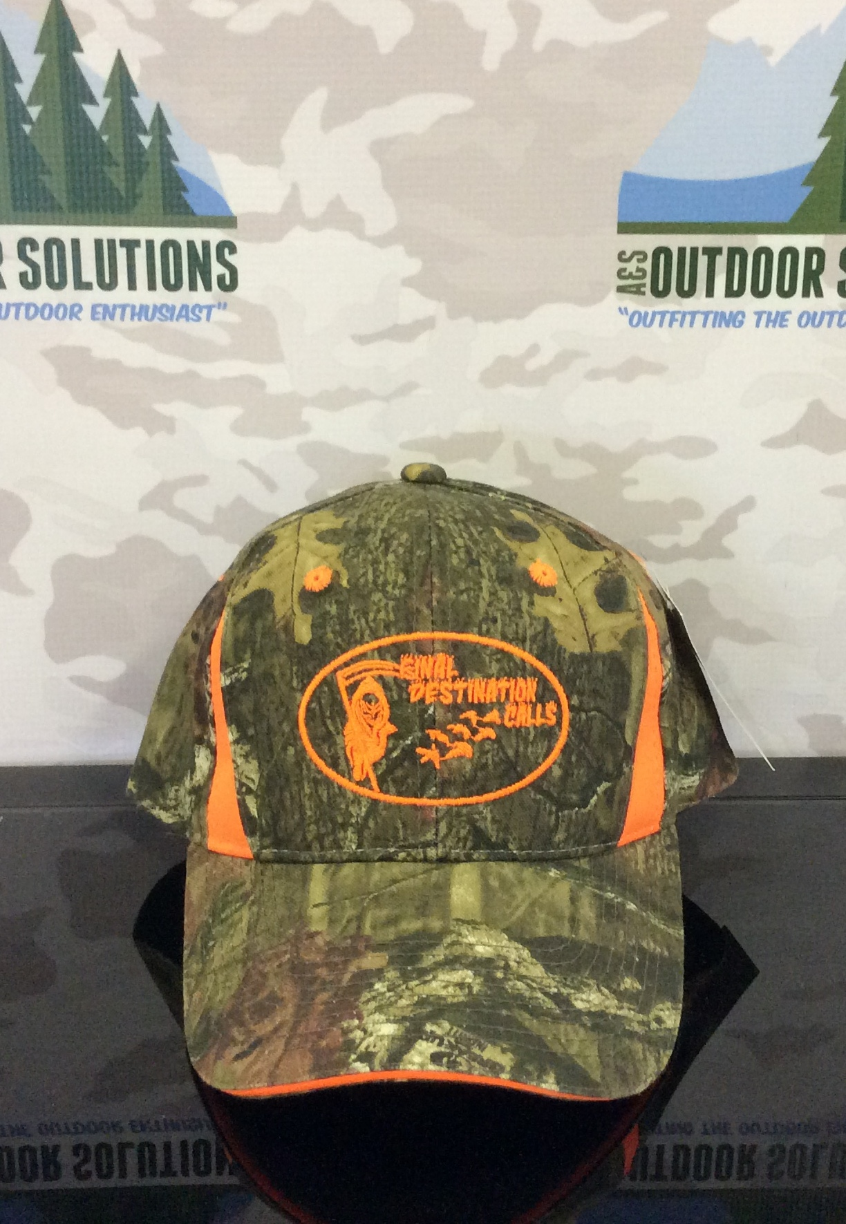 Camo Cap with Blaze Orange Inserts and Logo from Final Destination Calls