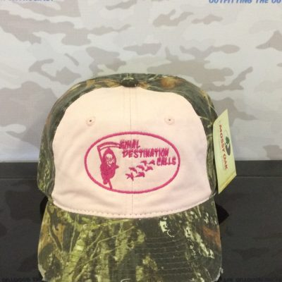 Camo Cap with Contrast Front Panel and Pink Logo from Final Destination Calls.