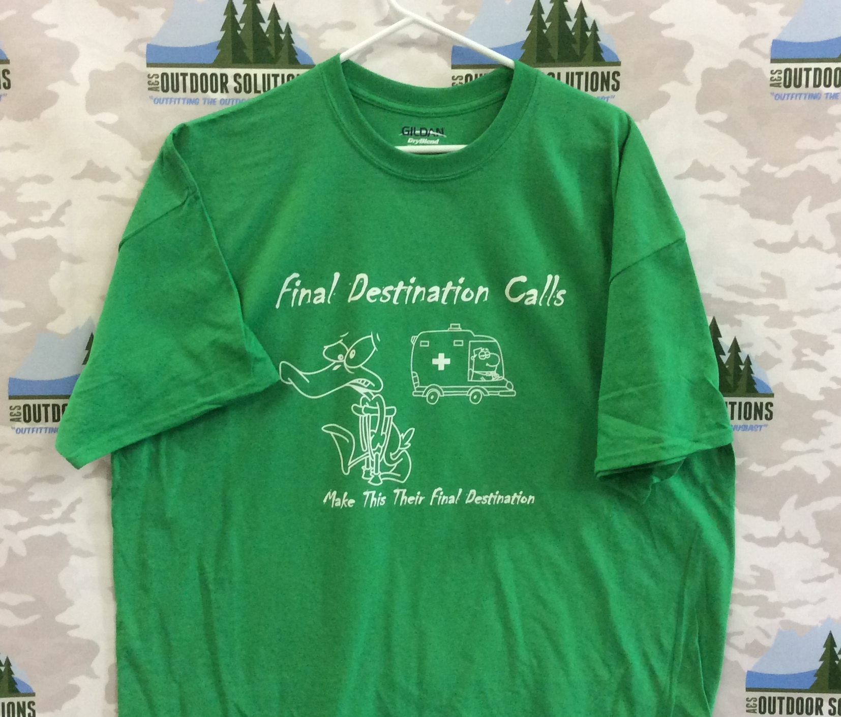 Irish Green Tee with White Logo from Final Destination Calls