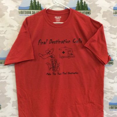 Red Tee with Black Logo from Final Destination Calls