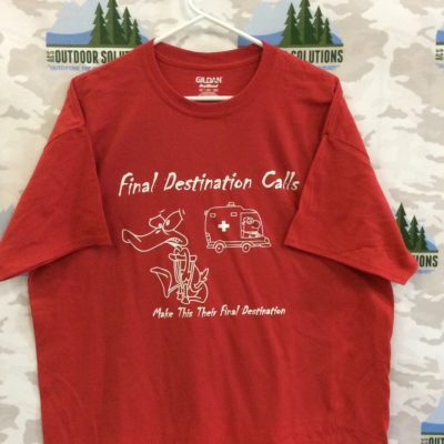 Red Tee with White Logo from Final Destination Calls