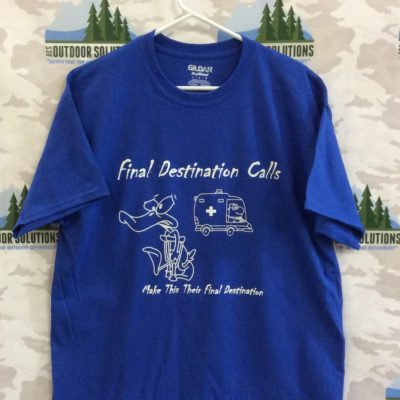 Royal Blue with White Logo Tee from Final Destination Calls