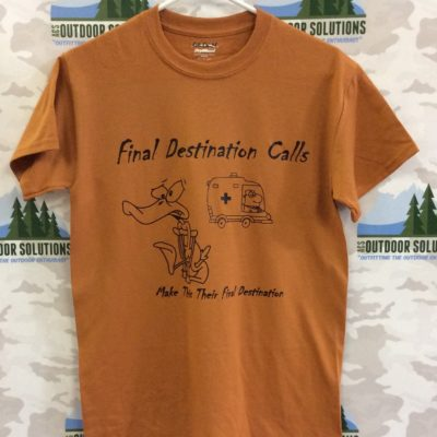 Texas Orange Tee with Black Logo from Final Destination Calls