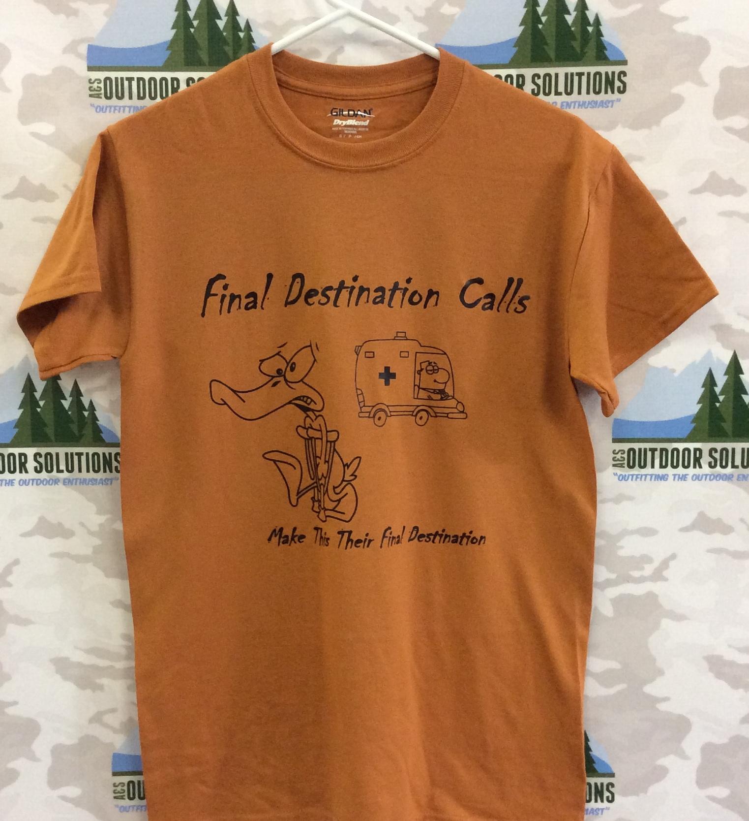 Texas Orange Tee with Black Logo from Final Destination Calls