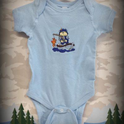 Blue fisher onesie